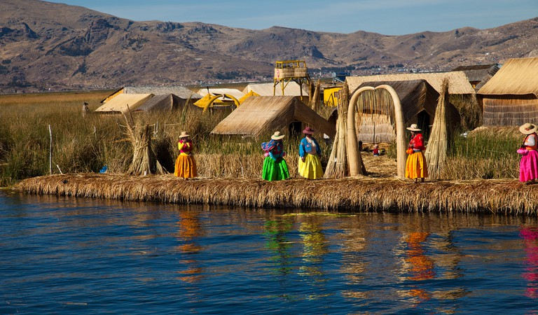 A typical hut made of reeds on the floating islands on Lake Titicaca
