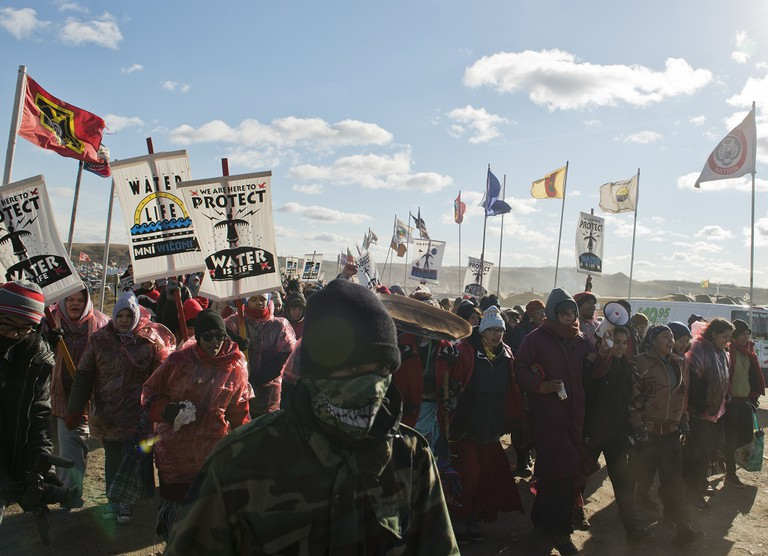 Protesters march at Standing Rock
