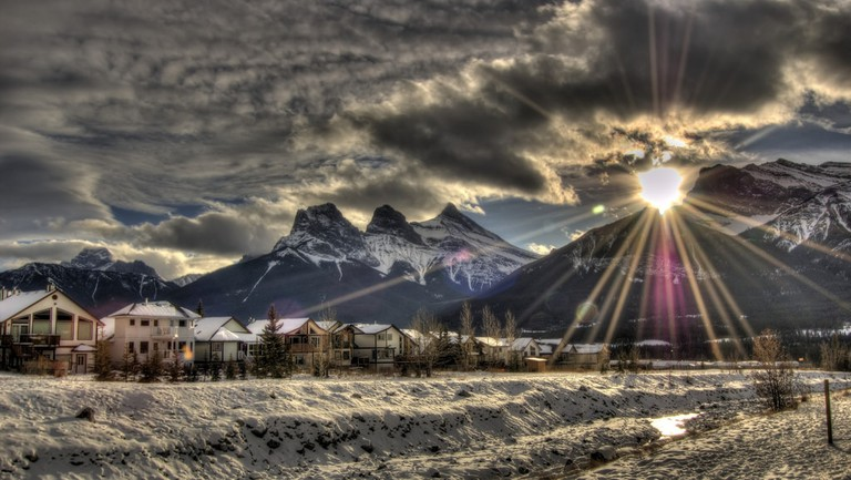 Canmore's photogenic Three Sisters Mountain Range
