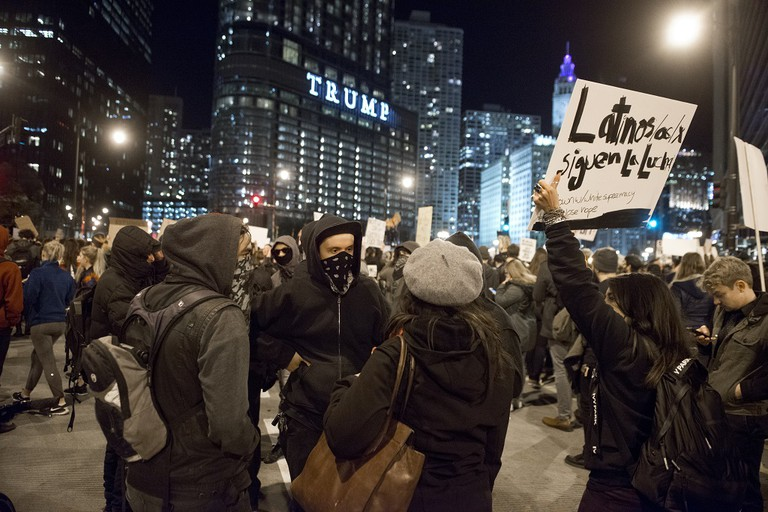 Protesters gather around Trump Tower in Chicago following the presidential election