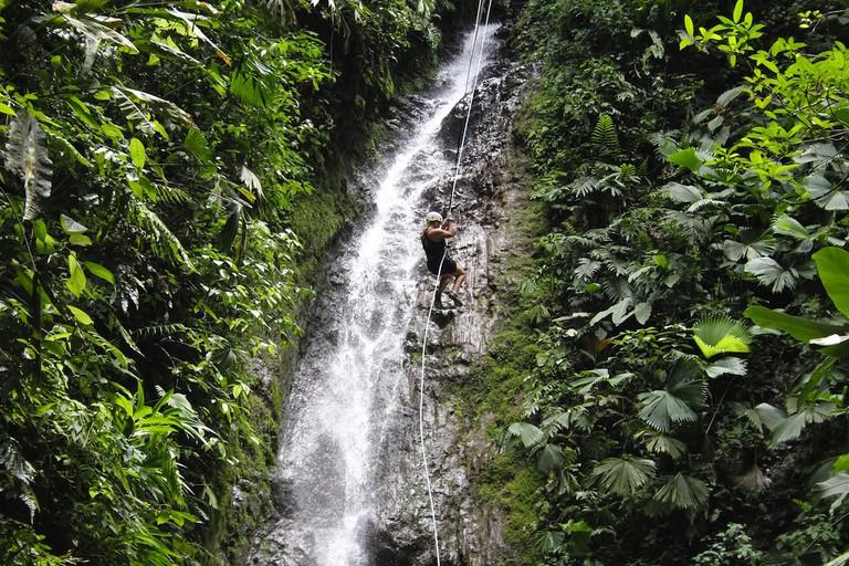 Waterfall rappelling in La Fortuna