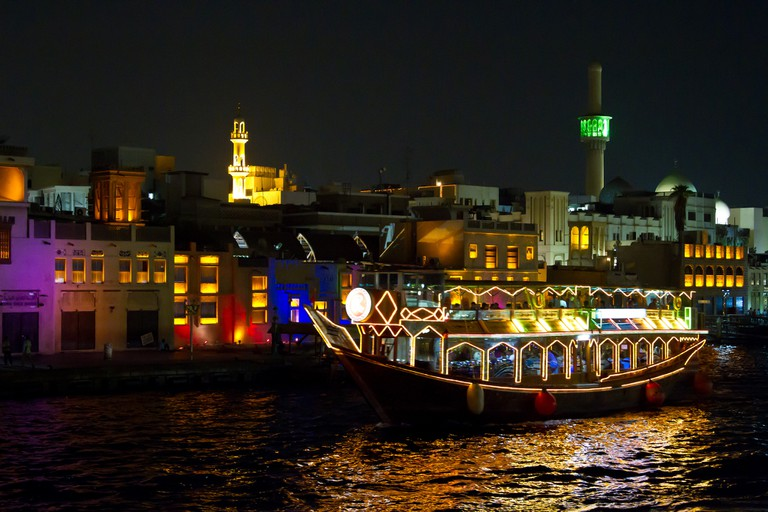 Dhow on the Creek at night