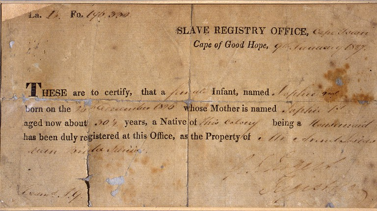 A certificate of slavery for an infant named Sophie
