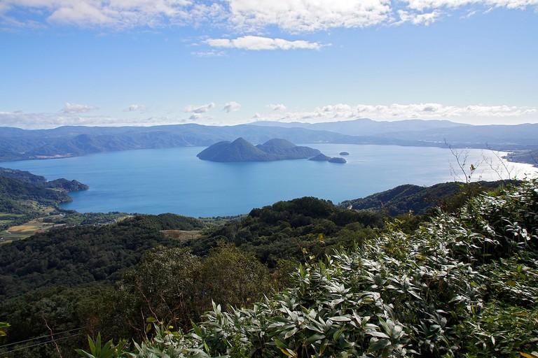 Lake Tōya view from The Windsor Hotel Toya Resort & Spa in Toyako, Hokkaido prefecture, Japan.