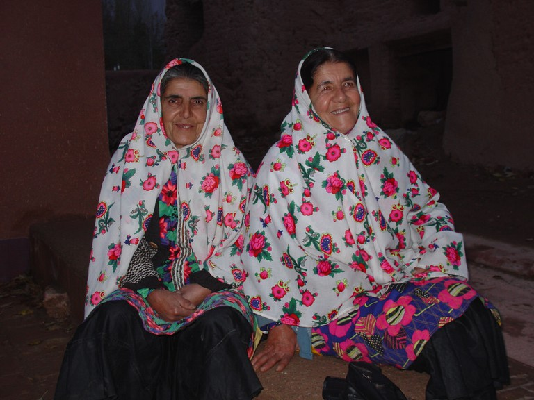 Long, floral scarves typical of the village of Abyaneh