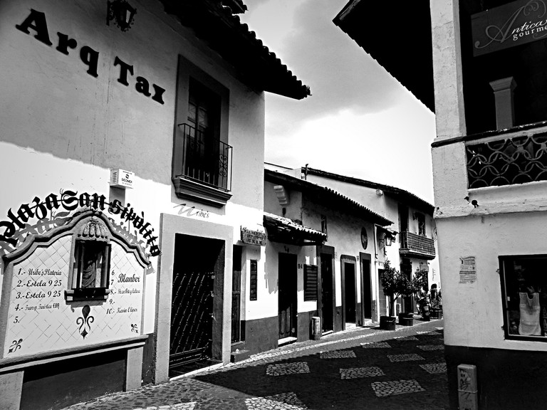A street in Taxco, where you can find much folk art