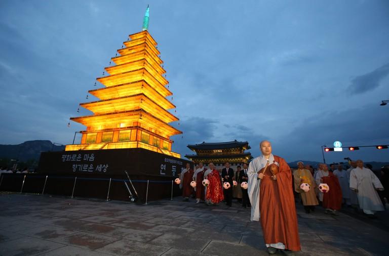 The pagoda shaped lantern lighting ceremony marks the start of Buddha's Birthday