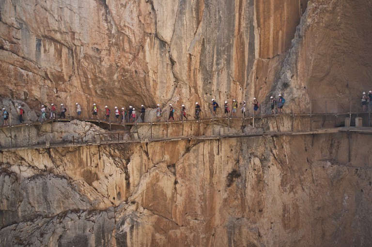 Don't look down: hikers on the Caminito del Rey, Malaga