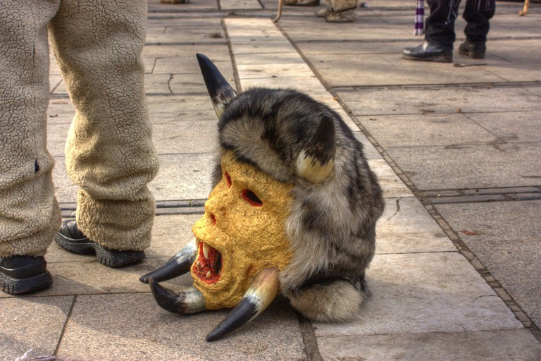 A kukeri mask