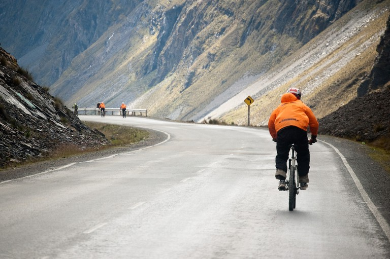 Cycling just before reaching the Death Road