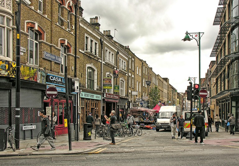 Looking down Brick Lane