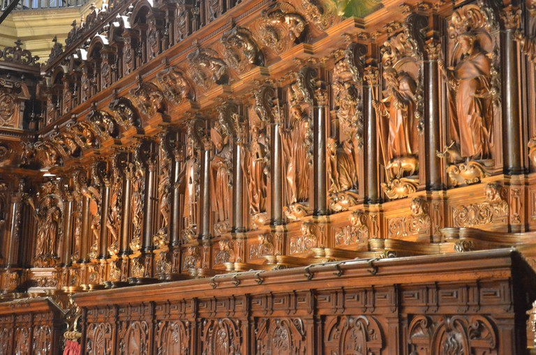 Beautiful carvings in the choir stalls of Malaga cathedral