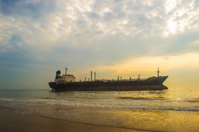 The oil tanker that ran aground during Cyclone Nilam