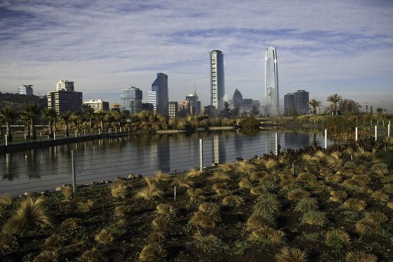 Bicentenary Park with Santiago de Chile's Amazing Skyline