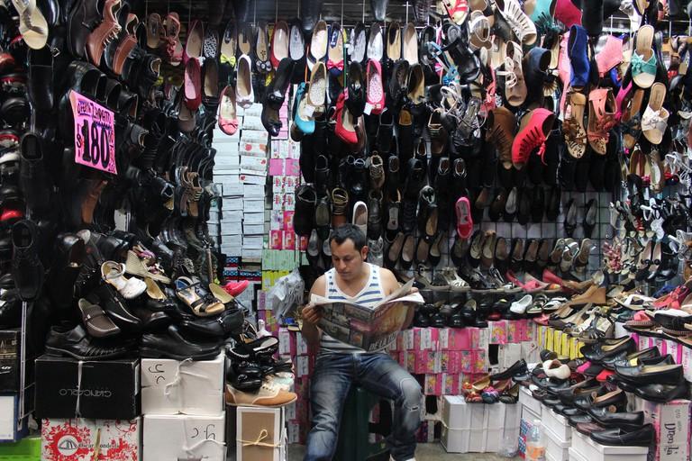 Shoe seller in La Merced