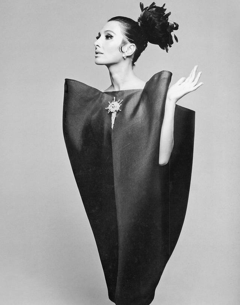 Alberta Tiburzi in 'envelope' dress by Cristóbal Balenciaga. Photograph by Hiro Wakabayashi for Harper's Bazaar, June 1967.
