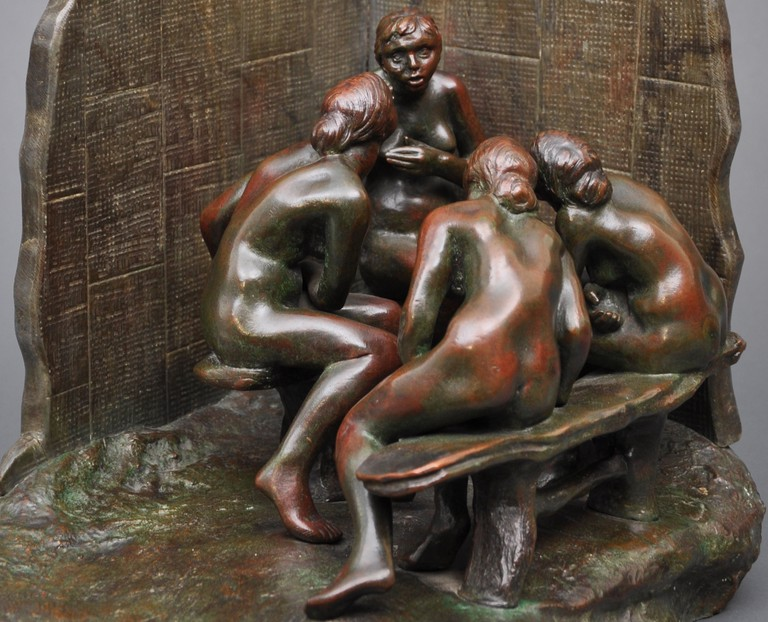 Les Causeuses bronze and marble by Camille Claudel