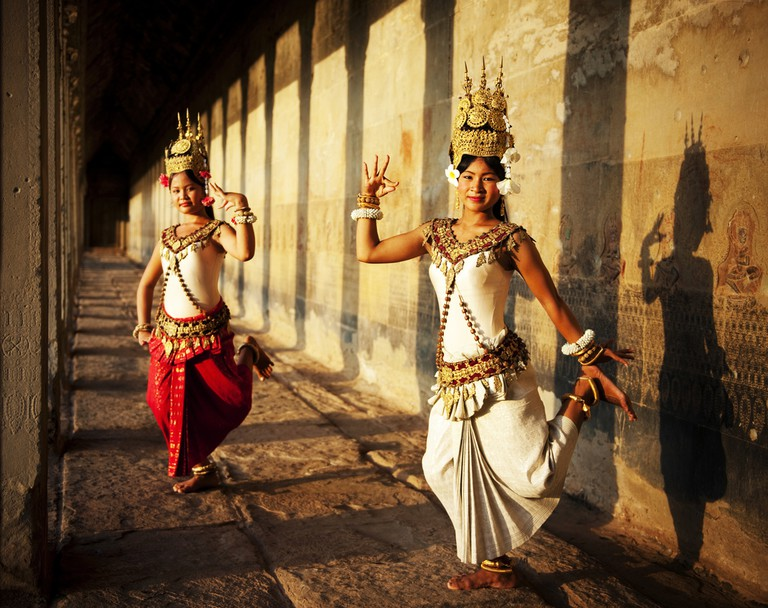 Apsara dancers sport traditional Cambodian attire