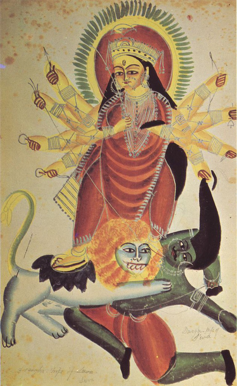 Goddess Durga on her lions killing the demon Mahishasura (1880)