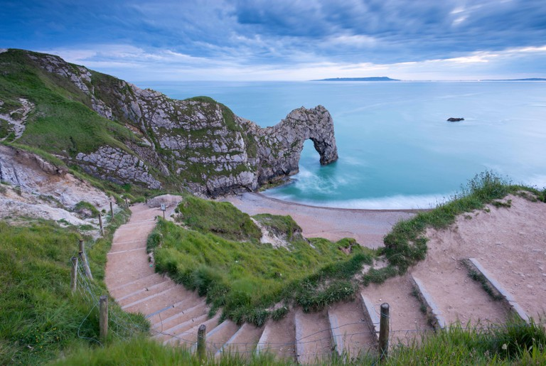 Steps leading down to Durdle Door on the Jurassic Coast, Dorset