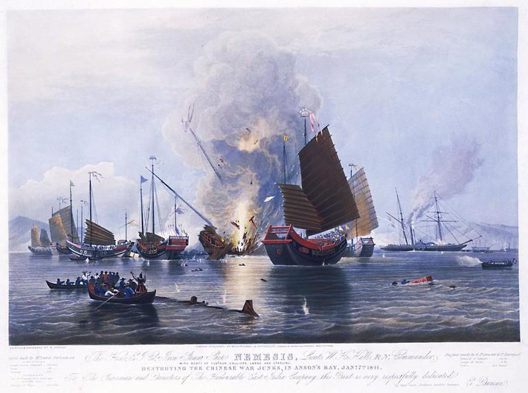 E. Duncan 'Destroying Chinese War Junks', 1841