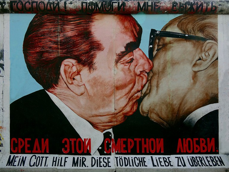 This iconic mural can be found at the open-air East Side Gallery