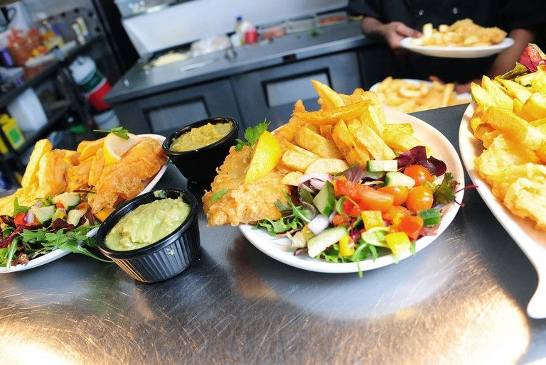 There's the option of having your fish grilled, as well as swapping out some of the chips for a fresh salad. Or keep it traditional with mushy peas.
