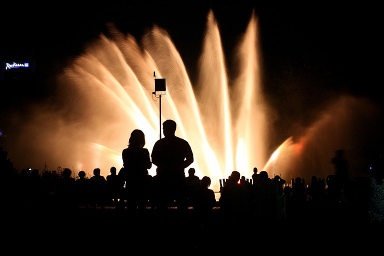 Light fountains at the Planten un Blomen