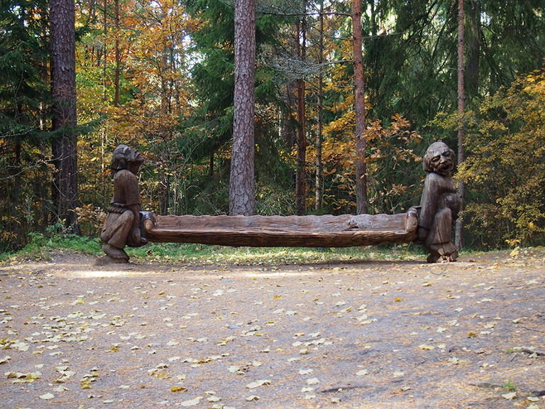 Carved bench on the Hill of Witches