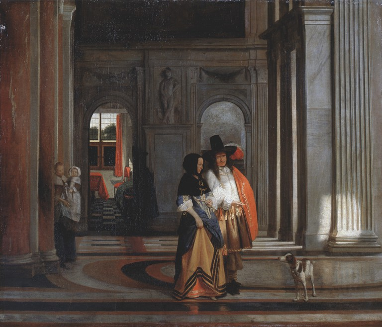 Going for a Walk, oil on canvas painted by Pieter de Hooch