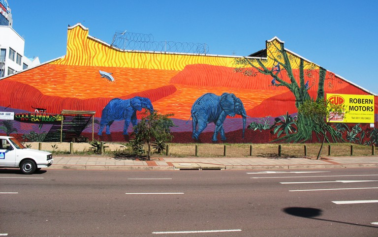 A mural painted by a number of Durban artists including Sakhile Mhlongo
