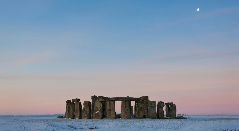 View of Stonehenge at sunset in winter, Wiltshire, UK