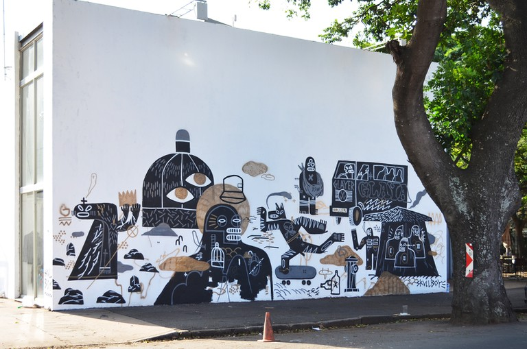A mural by skullboy at KZNSA Gallery in Durban