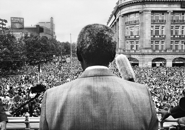 Nelson Mandela during his welcome on Amsterdam's Leidseplein, June 16, 1990