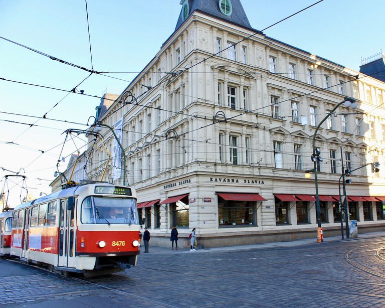 Prague Tram and Cafe Slavia