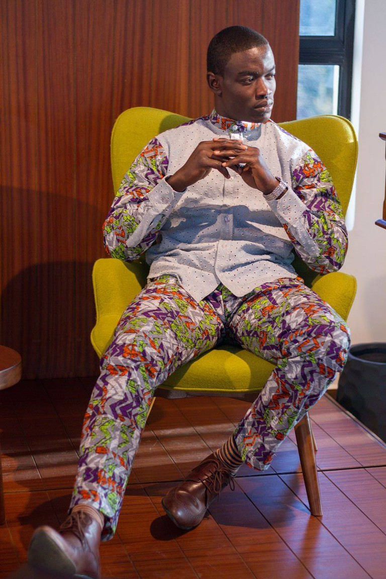 Oludhe models a denim and pint fusion design