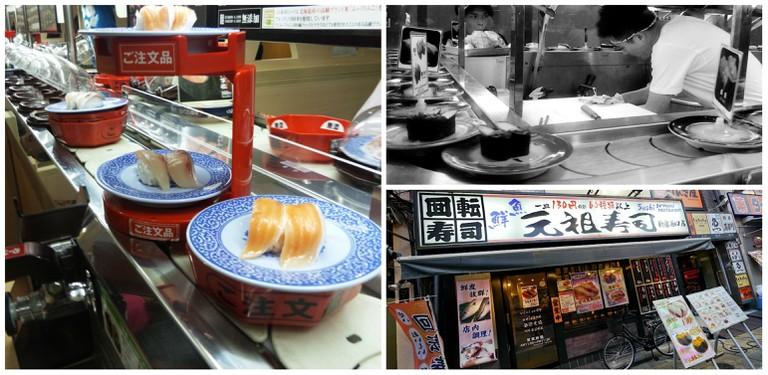 Conveyor belt sushi | PYNOKO OMEYAMAY / Flickr / Kaiten sushi shop in Osaka | Roberto Ciucci / Flickr / Exterior of kaiten sushi shop in Shinjuku | Danny Choo / Flickr