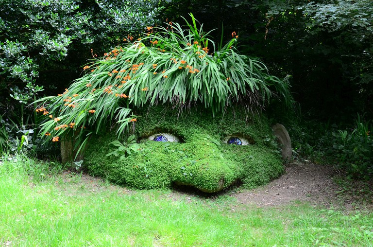 Gnome sculpture at the Lost Gardens of Heligan