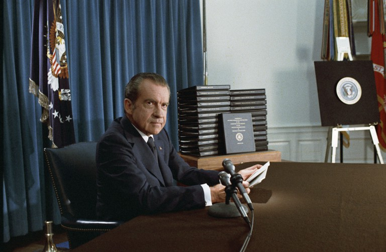 President Nixon, with edited transcripts of Nixon White House Tape conversations │© National Archives & Records Administration / WikiCommons