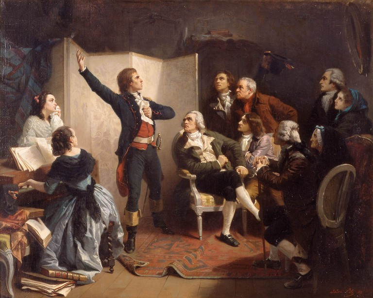 Rouget de L'isle Sings the Marseillaise for the First Time in 1792 , oil on canvas by Isidore Pils painted in 1849