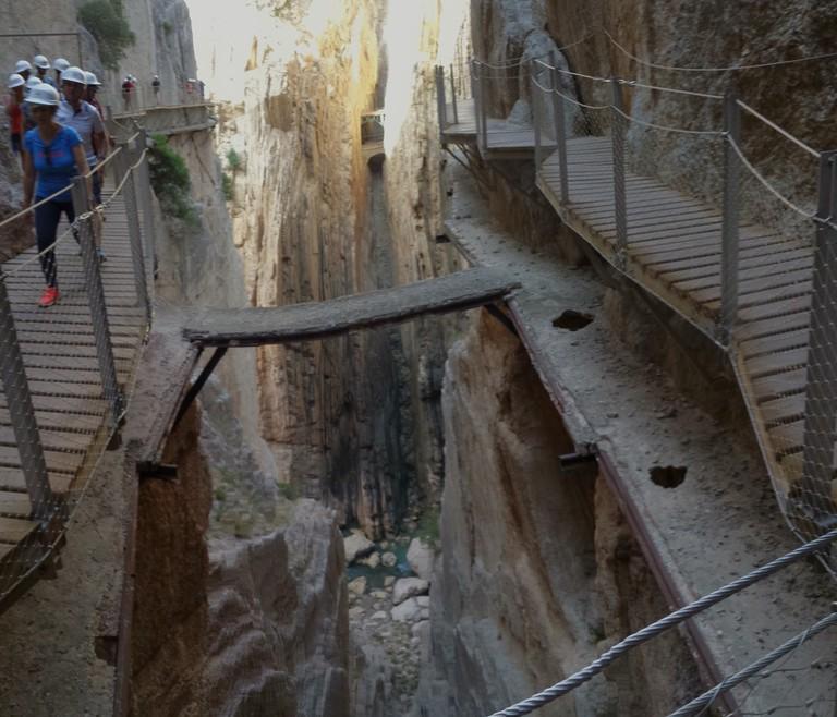The recently-renovated Caminito del Rey in Málaga runs just above the original path