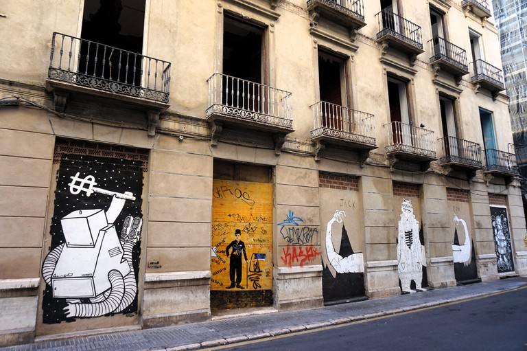 Abandoned buildings in Malaga´s Soho área are transformed by street art; Encarni Novillo