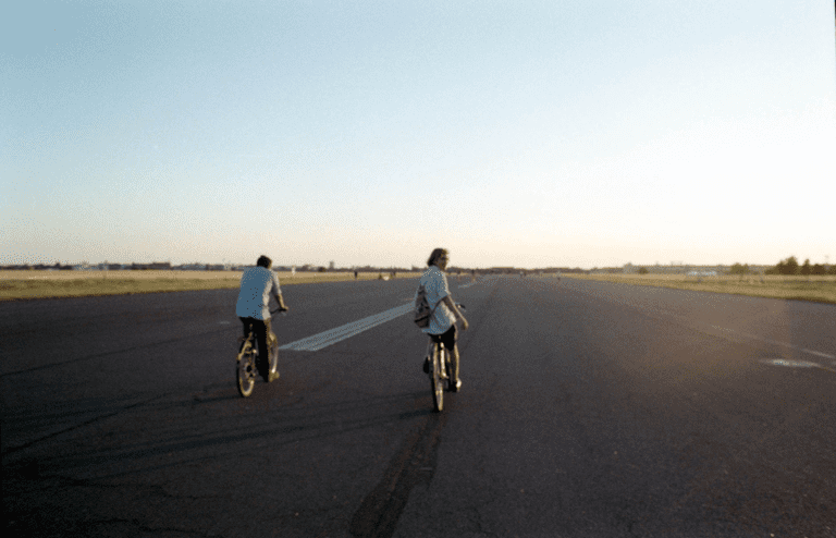 Cycling into the sunset at Tempelhof