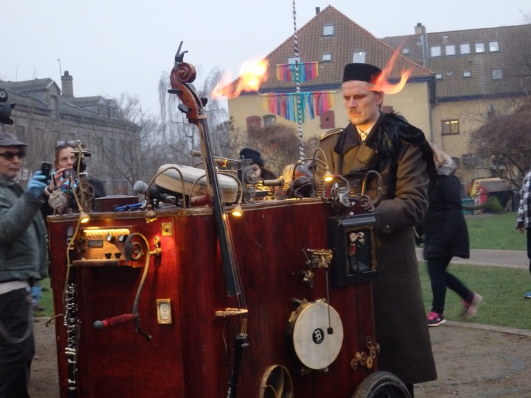 Musician with Unusual Instrument in Freetown Christiania, Copenhagen, Denmark