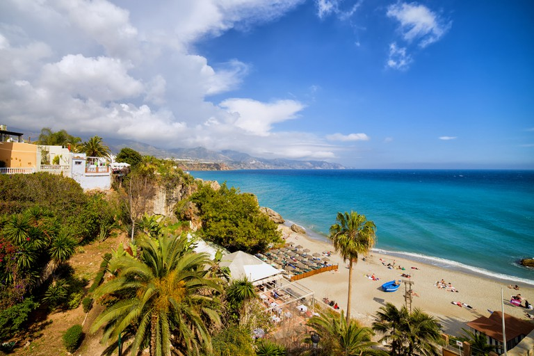 Calahonda Beach in resort town of Nerja, Costa del Sol