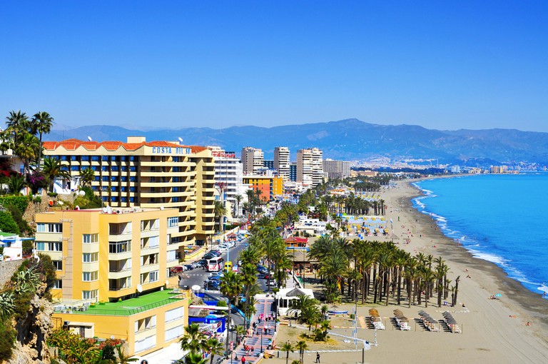 Bajondillo Beach and ocean front walk in Torremolinos, Spain