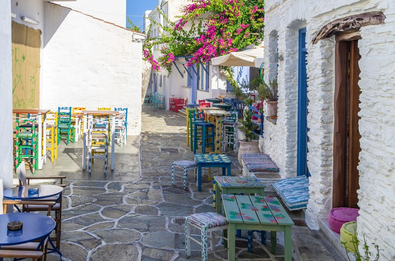 Street in Kythnos island, Cyclades, Greece