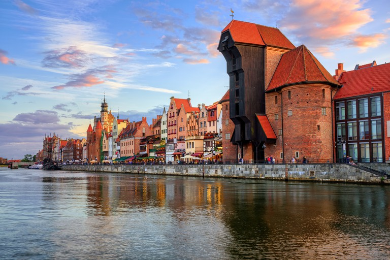 The Zuraw Crane and colorful gothic facades of the old town in Gdansk