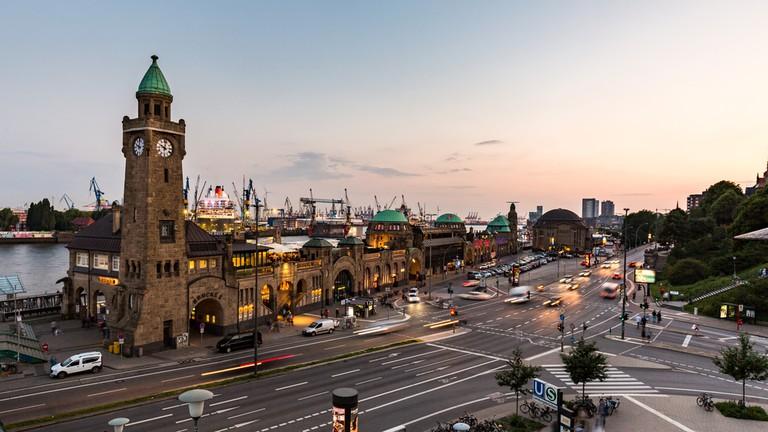 View of the St. Pauli Piers, Hamburg