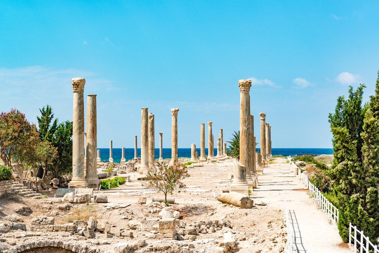 Al Mina archaeological site in Tyre, Lebanon. It is located about 80 km south of Beirut